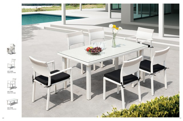 Lena 2015 Outdoor Garden Poly Rattan White Dining Patio Rattan Furniture
