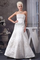 Celebrity Inspired Floor Length A-Line Strapless Beaded Lace Up Wedding Dresses