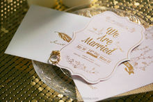 Rusitc Chic White Golden die cut wedding invitations cards