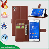 Litchi Pattern Credit Card Wallet Stand Flip cellphone leather case for Sony Xperia Z4