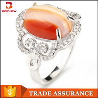 Latest plated white gold rings design for women fashion ring with big stone