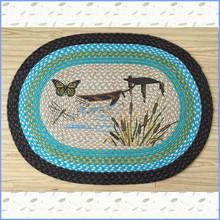butterfly dragonfly jute braided carpet rug, door mat, welcome mat