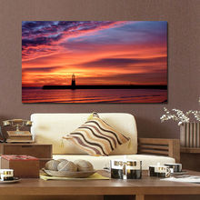 Red Sky Landscape Picture Printed on MDF Wood