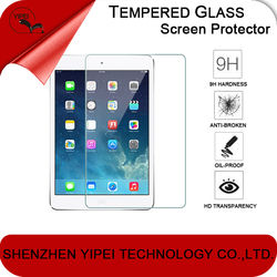 2015 HOT!newest tablet 9H anti fingerprint clear gold 0.26mm tempered glass screen protector for ipad mini