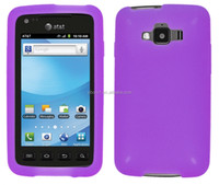 Cell Phone Accessories Purple Silicone Skin Case For Samsung i847 [free screen protector ]