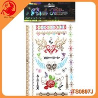 Gold And Silver Metallic Temporary Tattoo Sticker body jewel metallic temporary tattoo sticker