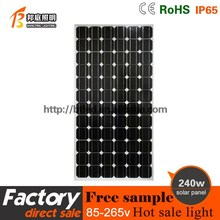 High effective 240W Monocrystalline solar panel manufacturers in china with CE,rohs