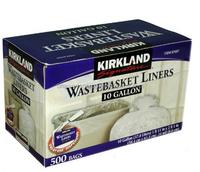 Kirkland Signature 10 Gallon Wastebasket Liners, 500 Bags