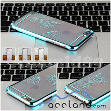 Electroplate Chrome Clear Hard Case chrome flower butterfly case For Apple iPhone 6