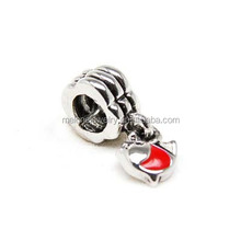 Hot Red Enamel Cute Fish Dangle Charms Beads Fit European Bracelets Wholesale