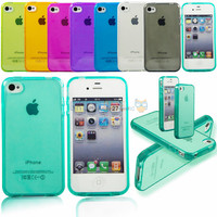 Ultra thin Colorful Transparent CLEAR TPU Gel Soft Silicone Case Cover Skin Protector For APPLE iPhone 4 4S 4G 5 5S 5G