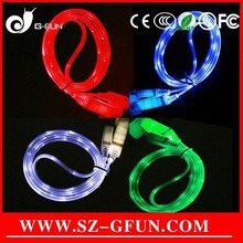 multicolor flashing led light up usb charging cable for mobile phone