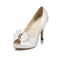 woman crystal wedding shoes woman fashion shoe with bowtie