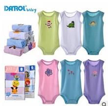 DAROL baby summer vest romper for newborn baby, 100% cotton 5pcs pack