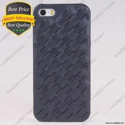 Luxury Knit Weave Braid Pattern Cowhide Leather Coated Hard Back Cover Case for iPhone 5 5S,Cell phone leather coated hard case