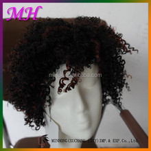 hot sale fashion young man wig ,two tones of color deep wave synthetic hair wig for men