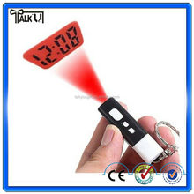 Plastic mini portable LCD projection keychain clock, flashlight digital mini projection keychain clock
