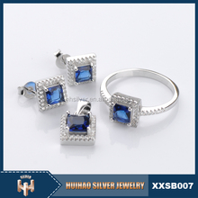 luxury chram color stone jewelry sets pure 925 silver jewelry party
