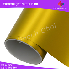 2015 New Arrival Matte Electrolight Metal Ice Film 1.52*20M Chrome Gold Car Stickers Auto Wraps For Vehicle Body Color Changing