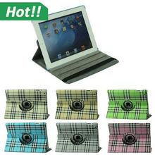 For iPad Air 2 Case 360 Rotating Plaid Soft Folio PU Leather Case Cover Protective Skin