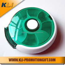 Fan shaped Seven days round plastic rotating pill case
