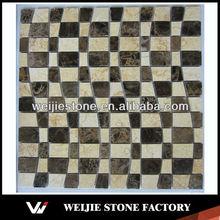 Dark Emperador mixed Sunny Beige marble mosaic decoration sunburst wall art