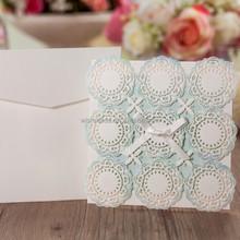 light blue wedding invitation card laser cut cw5051