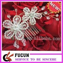 moda tono plata elegent flor de novia de la boda de diamante peine del pelo clip