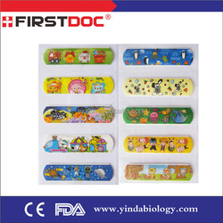 2015 free sample customize cartoon adhesive wound plaster in color box