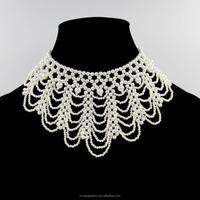 Fancy Ladies Bead Necklace Designs,Flower Shape Choker Pearl Necklace