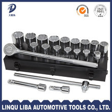 china factory 21 auto repair tool socket set with ratchet wrench