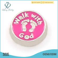 Zinc alloy boys and girls footprint charm, custom pink metal charms for locket