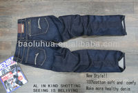 mens 100% cotton raw blue denim jeans