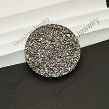Popular Agate Geode Slice Pendant Big Round 25mm Silver Agate Druzy Tianium Druzy Cabochon