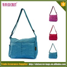 china oem customize solid color retro nylon fabric sling bags for women
