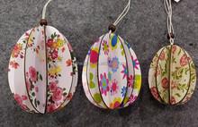 hot sale cheap flower hanging paper eggs decorative eggs for easter decoration /garden/home decoration