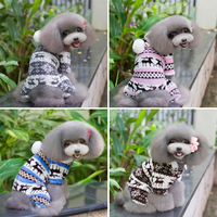 Sweet Hat Of Ball Pet Dog Puppy Wear Warm Autumn Winter Jumpsuit Clothes With Deer And Snowflake Four Foots BY-039