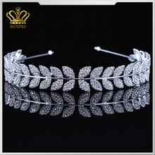 Wholesale silver crystal metal plated rhinestone hair hoop pageant tiara hair jewelry