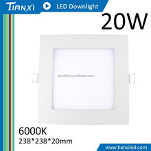 Taiwan Factory Direct Ceiling Ultra Thin 20W 238x238x20mm 6000K Square LED Downlight