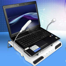 Multimedia laptop cooling stand with ergonomic design