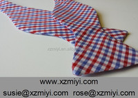 Red, White, and Blue Checked Tattersall Reversible Bow Tie Double Sides Self Tie Bow Tie