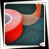 IS09001&14001 Certified Double Sided Adhesive PET Tape With Red Release Liner