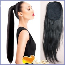6A Brazilian Virgin Hair Long Straight Ponytail Wrap Hair Extension Natural Black Hair Clip In ponytail