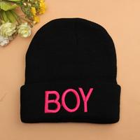 2015 Hot Sale Toddler Baby Girls Boys Knitted Woolen Skull Children Hats BOY Letter Printed Beanies Caps Ski Hats 7 Colors