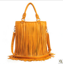genuine leather women handbag ,tassel tote bag