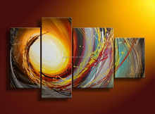 High grade perfect abstract light green sky four groups oil Painting on Canvas for living room