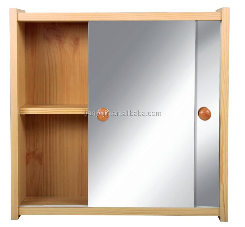 Classic Design Sliding Mirror Doored Solid Wooden Bathroom