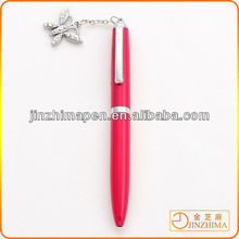 Rhinestone ball pen with Butterfly shape pendant