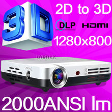 Best Home Theater HDMI USB Pico Portable HD 1280x800 3D Cinema 1080p LED Mini DLP Projector 3