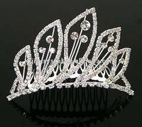 Elegant sparkling crystal diamond bridal wedding crown decorative tiaras hair comb